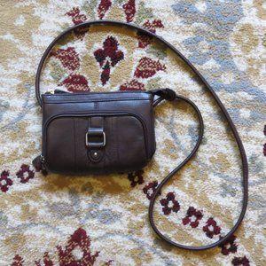 Merona Small Brown Crossbody Purse Wallet EUC
